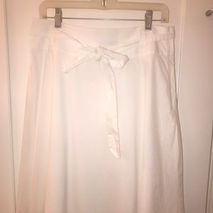 Lands' End white cotton A-line skirt sz6